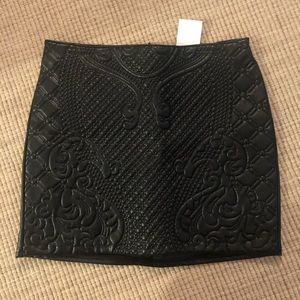 Hm faux black leather with detail skirt NWT